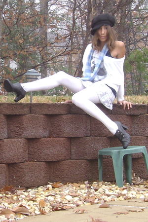black Mossimo shoes - white tights - blue hollister skirt - blue New York & Co s