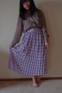 Brown-thrfited-shirt-purple-thrifted-skirt