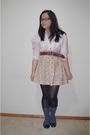 Pink-op-shop-shirt-yellow-hand-made-skirt-black-big-w-tights-gray-school-b
