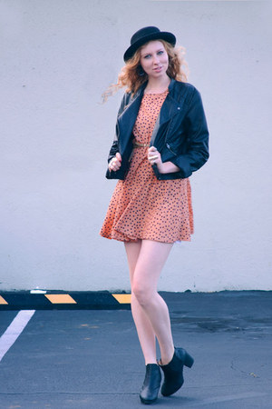 black chelsea Thrifter boots - salmon polka-dot thrifted dress