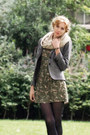Green-floral-bershka-dress-heather-gray-tweed-thrifted-blazer