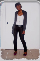 gray Have vest - black Levis jeans - purple piper&blue shoes - white Zara top