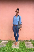 Bamboo heels - skinny jeans Forever 21 jeans - denim shirt Yessica shirt