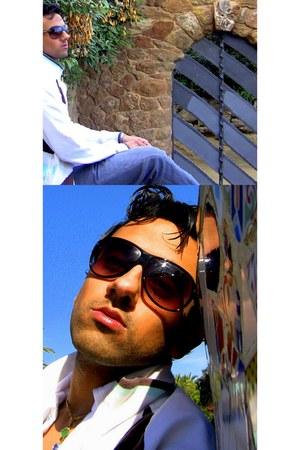 heather gray skinny jeans Topman jeans - black aviator Club Monaco sunglasses -