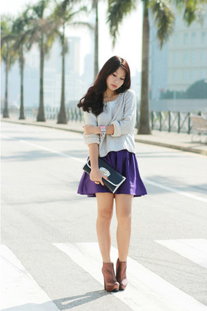 DKNY skirt - Dolce Vita boots - H&M sweater - Miu Miu bag - Hermes watch