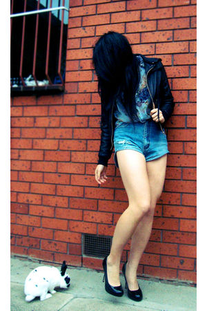 black Friends sisters jacket - blue unknown blouse - blue DIY shorts - black Lip