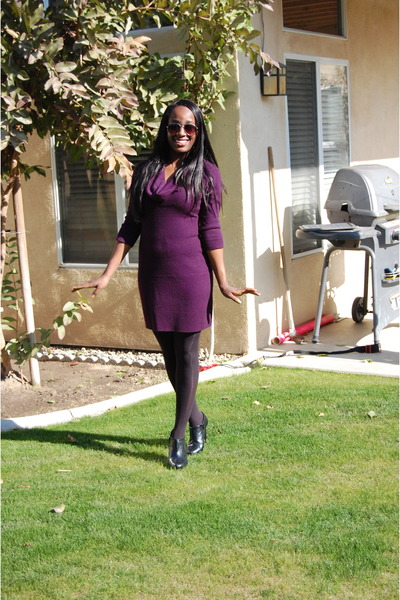 sweater dress Ross dress - booties Forever 21 boots - opaque Forever 21 tights