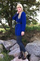 blue thrifted blazer - Love Label leggings - Runway Next boots
