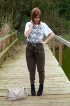 beige Fiorelli bag - white Topshop top - black Matalan wedges - army green asos
