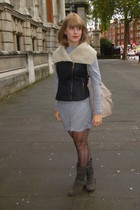 black Primark jacket - heather gray Mango dress - black Primark tights - dark gr