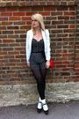 White-vintage-blazer-jane-norman-black-tights-black-topshop-shoes