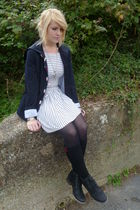 blue Dahlia jacket - Toshop dress - black Primark socks