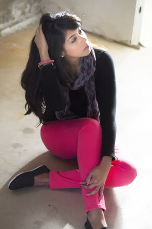 black Wet Seal shoes - hot pink Dorothy Perkins jeans - puce Aldo scarf