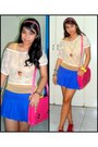 Hot-pink-messenger-bag-blue-pleated-skirt-mustard-sheer-top-ivory-lace-top