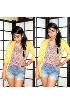 light yellow cardigan - bubble gum floral printed top