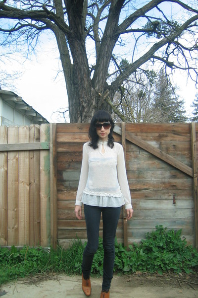 black Urban Outfitters pants - gold ann taylor brogues shoes - white thrifted bl