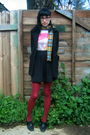 Black-urban-outfitters-skirt-thrifted-t-shirt-black-rockport-shoes