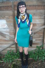 Blue-vintage-shirt-gray-vintage-shoes-green-american-apparel-dress-black-r