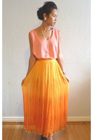 maxi skirt Orange Miss Selfridge vintage from starvintagefashion skirt - Coral p