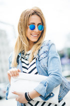statement Zara necklace - Bershka boots - stripes Zara dress - denim H&M jacket