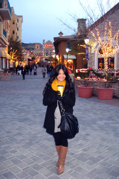 black coat - silver Macys dress - black pants - gold H&M scarf - beige thirfted