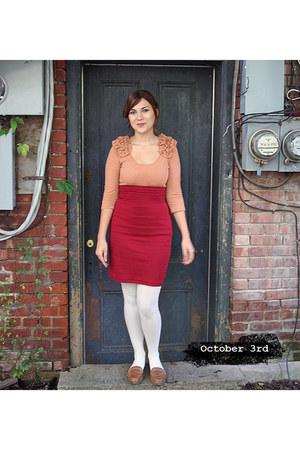 H&M top - H&M stockings - American Apparel skirt - crown vintage loafers