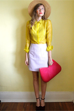 yellow Tea and Tulips blouse - amethyst Tea and Tulips skirt