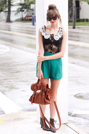 black romwe blouse - forest green Tea and Tulips shorts - black shwood glasses