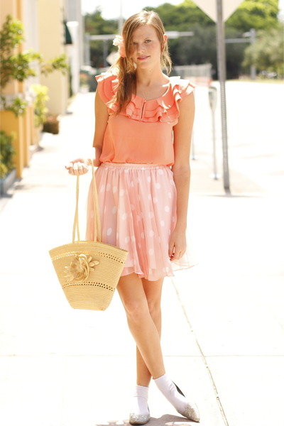 nude vintage bag - salmon Forever 21 blouse - bubble gum Tea and Tulips skirt -