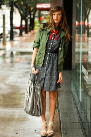 gray Tea and Tulips dress - army green Tea and Tulips jacket