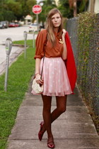 bubble gum Tea and Tulips skirt - burnt orange Tea and Tulips blouse