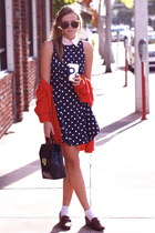 navy vintage dress - navy vintage bag - white Forever 21 socks