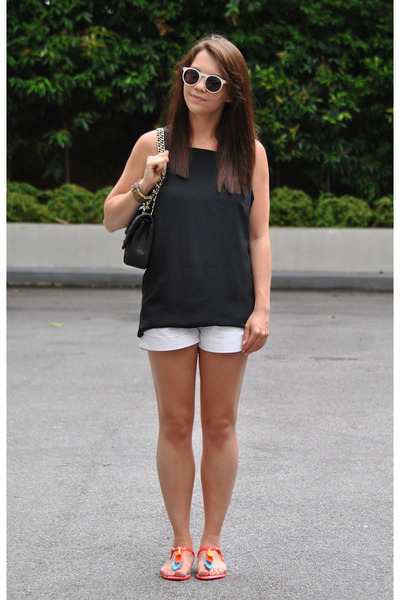 Melissa sandals - Chanel bag - jack wills shorts - Topsho top