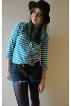 black fedora H&M hat - navy diy Primark shorts - teal new look top