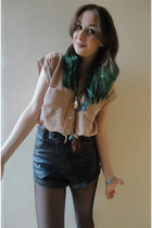 peach silk Very shirt - black leather DIY shorts