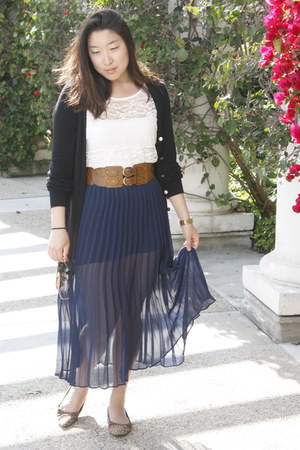 ivory lace shirt - blue sheer MIKKAT MARKET skirt - black cardigan
