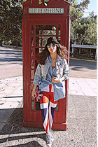 red union jack romwe leggings - black hat - light blue denim Stradivarius shirt