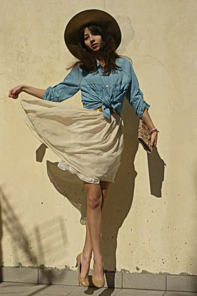 sky blue denim Stradivarius shirt - ivory dress - camel H&M hat
