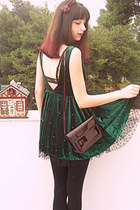 green Chicwish dress - ruby red boots - crimson vintage bag