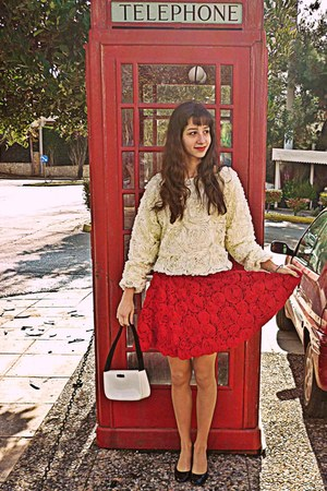 red 3d flower Chicwish skirt - ivory 3d flower romwe sweater - white vintage bag