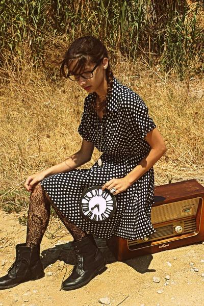 white clock DIY bag - black boots - navy polka dot Dorothy Perkins dress