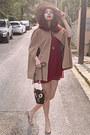 Maroon-studded-stradivarius-dress-camel-h-m-hat-black-owl-bag
