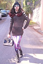dark gray cutout Chicwish sweater - black boots - amethyst galaxy romwe leggings