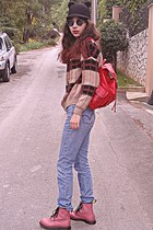 black romwe hat - pink army OASAP boots - periwinkle Levis jeans