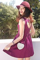 white heart studded romwe bag - magenta heart dress - maroon H&M hat