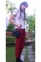 black Dorothy Perkins boots - ruby red Stradivarius jeans - white polka dot shir