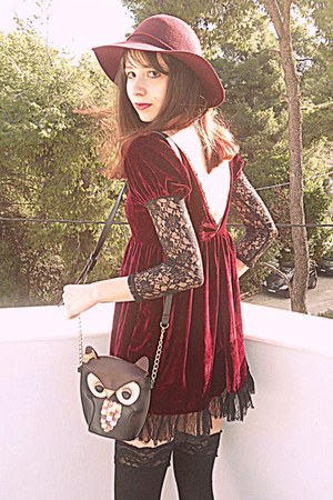 brick red boots - brick red velvet romwe dress - maroon H&amp;M hat - black owl bag