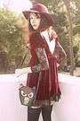 Brick-red-velvet-romwe-dress-brick-red-boots-maroon-h-m-hat-black-owl-bag