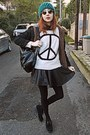 Black-fur-parka-romwe-coat-teal-beanie-hat-ivory-peace-sign-romwe-sweater