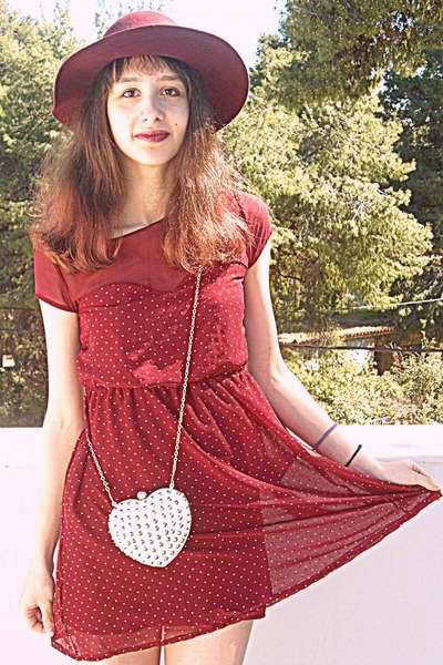 white studded heart romwe bag - maroon studded Stradivarius dress